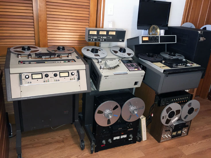 Sony/MCI JH-110, Sony APR 5003, Ampex ATR-100, Otari MX-5050 Otari MX5050 B2 HD reel to reel tape recorders in the reel2reeltexas.com - Museum of Magnetic Sound Recording vintage recording collection